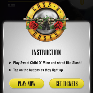 Embedded game in standard IAB format-interstitial using Bonzai's platform led to increase in ticket purchase for Guns n roses
